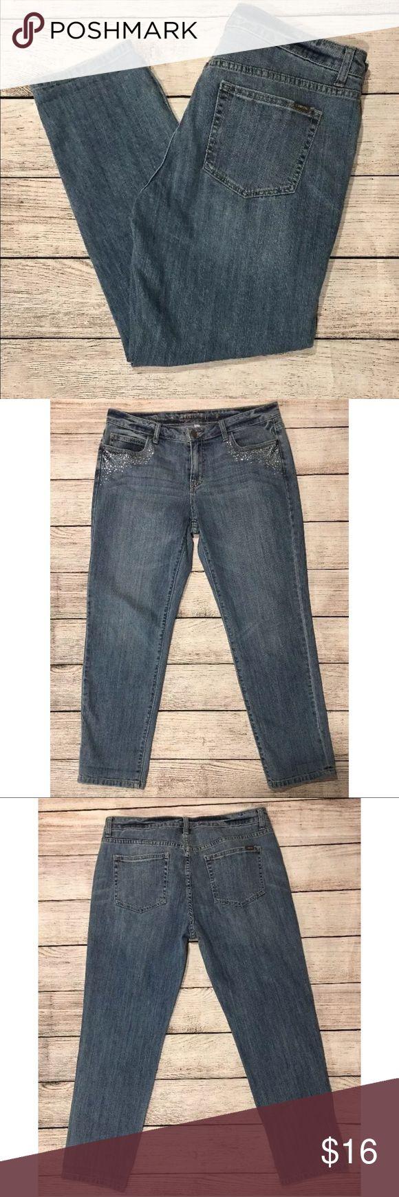 Jennifer Lopez boyfriend jeans, sz 8, Embellished Very good condition.  No tears, rips, or holes.  Smoke free, pet free home. Jennifer Lopez Jeans Boyfriend