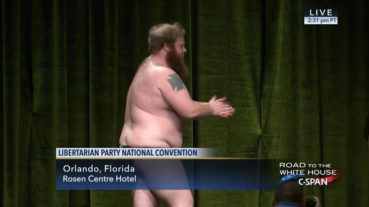 Libertarian Party chair candidate strips on stage at national convention (I've always said it, some libertarians are funny, some are dangerous, but they're all freakin' nuts!) http://www.washingtontimes.com/news/2016/may/29/libertarian-party-chairman-candidate-strips-stage-/