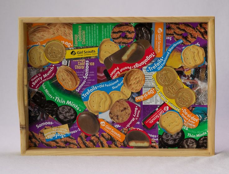 Decoupaged Girl Scout Cookie Serving Tray