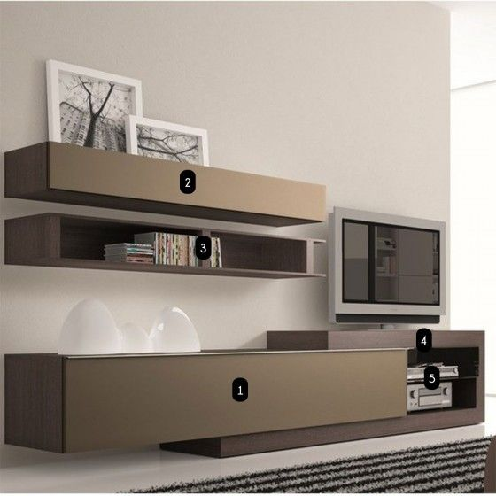 Meuble TV design taupe Neva ATYLIA - Meuble TV design wengé
