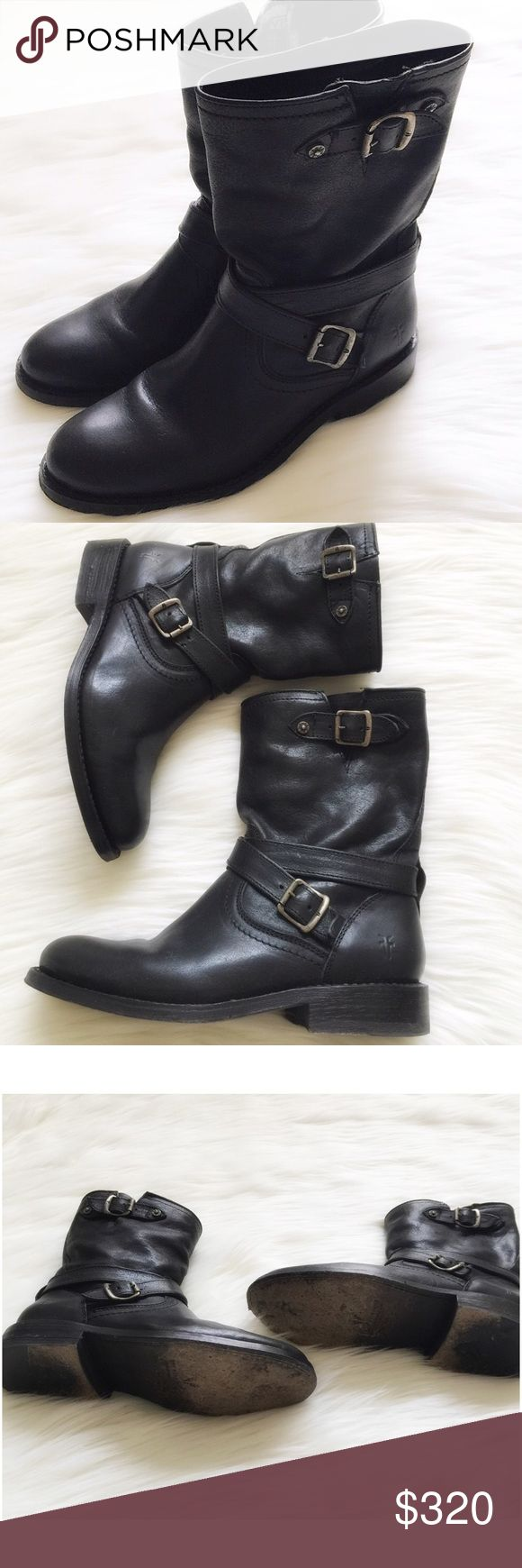 Frye Engineer boot Beautiful black supple leather upper, lining and sole are also leather. These boots are same high quality you would expect from Frye! 1 inch heel, approximately 8 inch shaft (measured from back of boot, heel to top of shaft). Pull on style. Almond shaped toe gives a more feminine touch to these moto-style boots. Worn once for a few hours, still in excellent condition, no scuffs/scratches/damages to the leather. Purchased from Frye at full price. Reasonable offers…