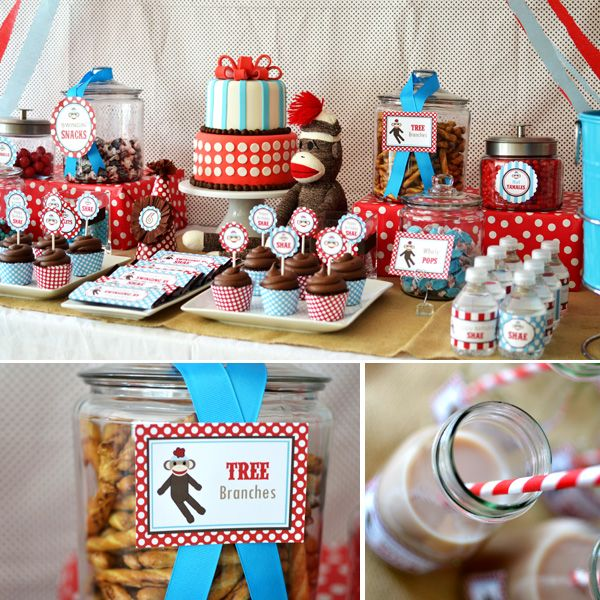 1st birthday decorations boy sock monkey | Adorable Rustic + Modern Sock Monkey Birthday Party // Hostess with ...
