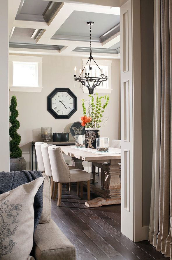 coffered ceiling with grey/blue paint
