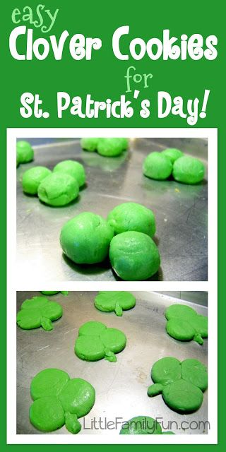 Easy way to make Shamrock cookies for St. Patrick's Day! Even easier than using a cookie cutter, and fun for kids too!