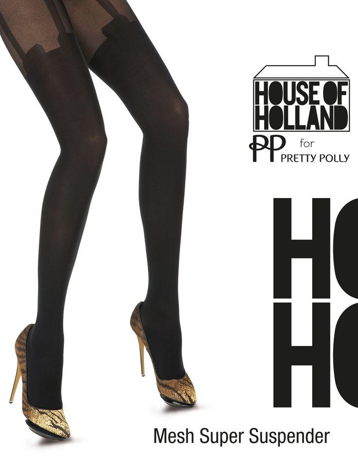 De Mesh Super Suspender panty is een zwarte panty met kousen look van House of Holland. Het bovenbeen gedeelte is van micro mesh en de kousen zijn van 40 denier opaque. One size.