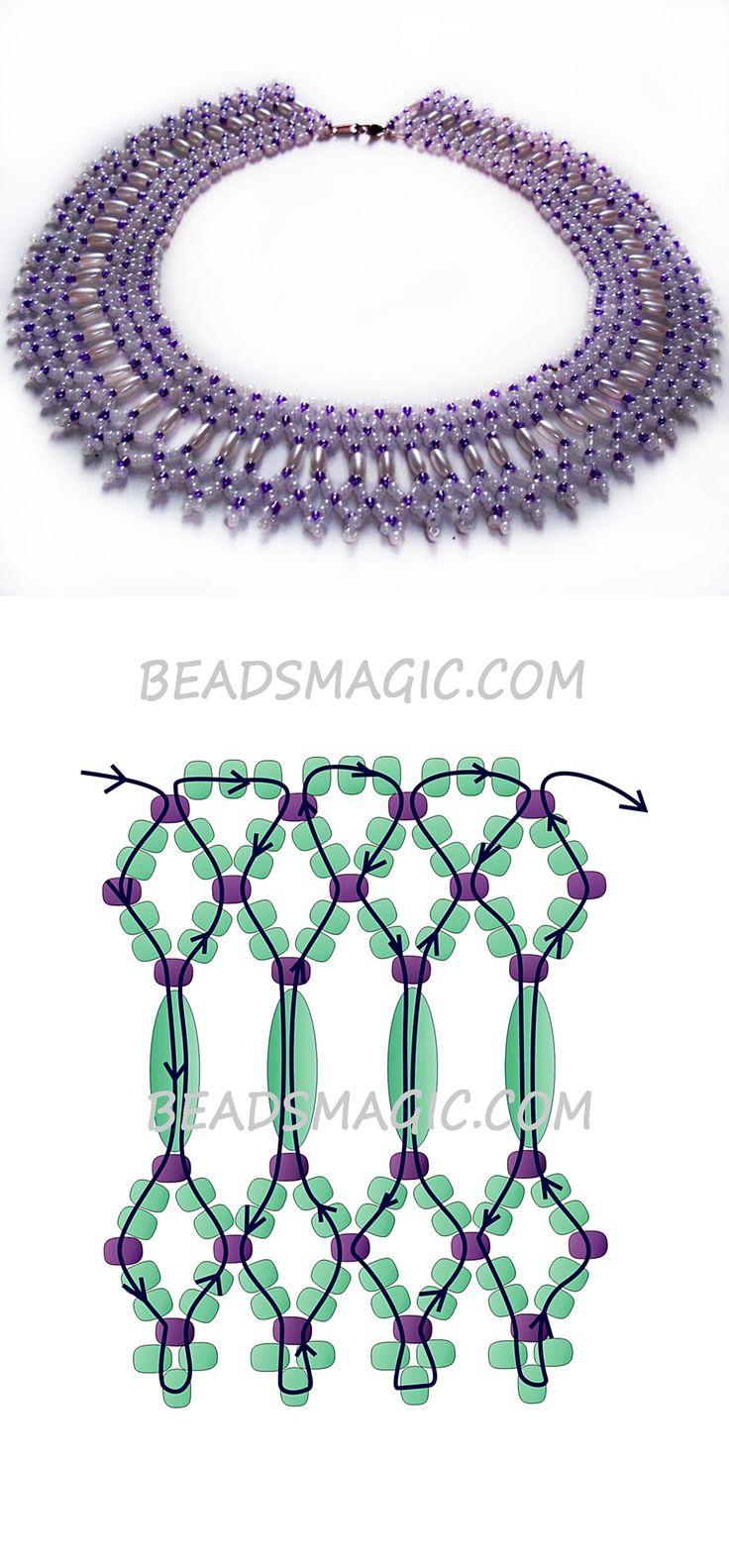 Free pattern for necklace Fame rizs helyett-szalma