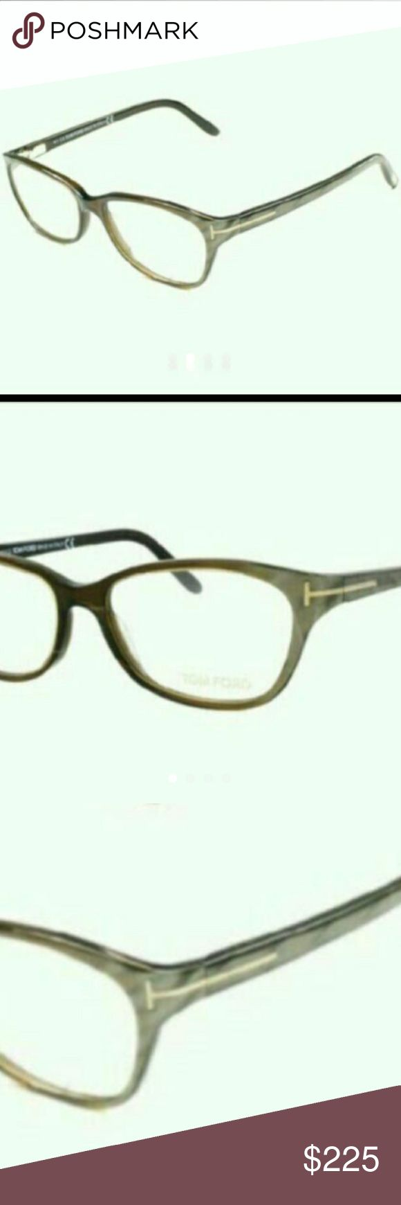 Tom Ford glasses From his 2016 summer collection these frames are beautiful avid unique. With a plastic brownish gray iridescent coloring and a slight cat eye shape and Scarlett lenses. These are great frame for a petite woman . really beautiful outside in  the sun when the colors change and shimmer. Brand new never worn Comes with authentic case cleaning cloth and period of authenticity Tom Ford Accessories Glasses