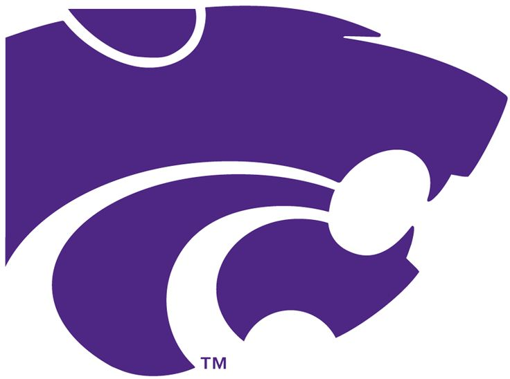 Kansas State Wildcats Primary Logo (1989) - Sillouetted head of a wildcat in purple