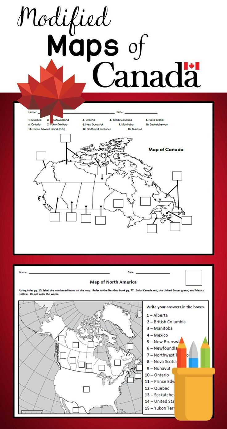 Map Of Canada 6th Grade.Modified Maps Of Canada Were Created For Inclusion Students In 6th