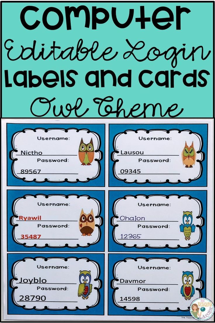 On The Lookout For Computer Labels And Cards To Help Students In Remembering Their Username And Passwor Student Login First Grade Activities Elementary Reading
