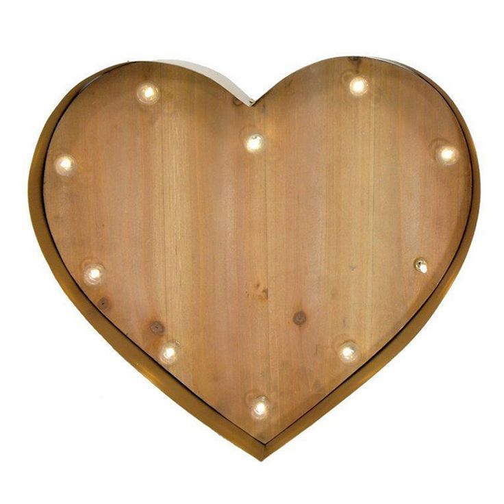 Wooden Love Heart Wall Deco with Lights | Red | 39x35.5cm by Wake Up Your Walls on POP.COM.AU
