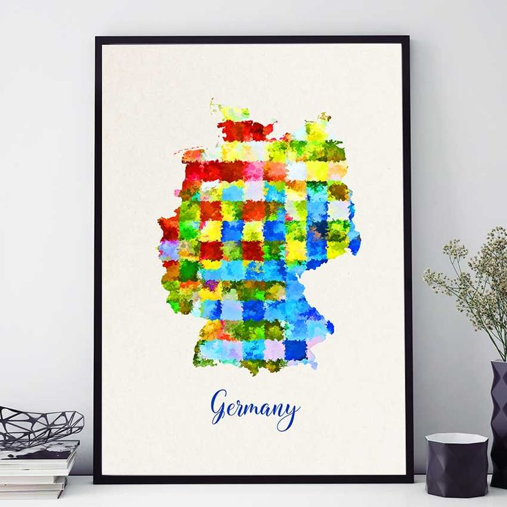 Germany Map Print, Deutschland Map Poster, Watercolor Map Print, German Wall Art, Home Decor Map (710) by PointDot on Etsy