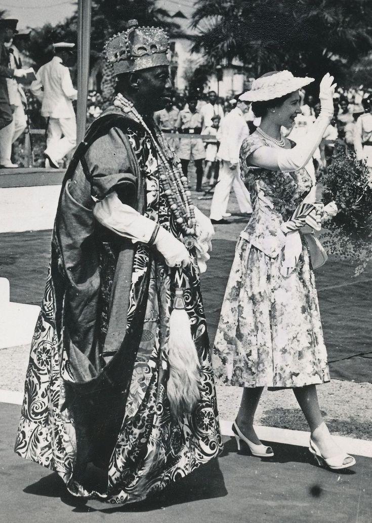 January 1956. Queen Elizabeth arrives in Nigeria. H.M