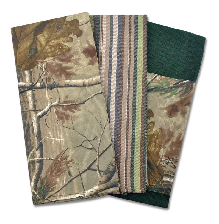 DII 100% Cotton, Machine Washable Realtree Camo Dishtowel Gift Set,  Includes 3 Dishtowels