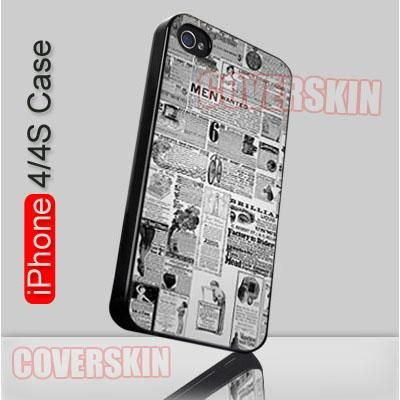 Antique Newspaper Ad Digital Stamps iPhone 4 or 4S Case Cover