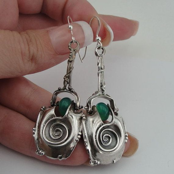 Totally Unique Sterling Silver Coil Design Green by hadarjewelry, $79.00