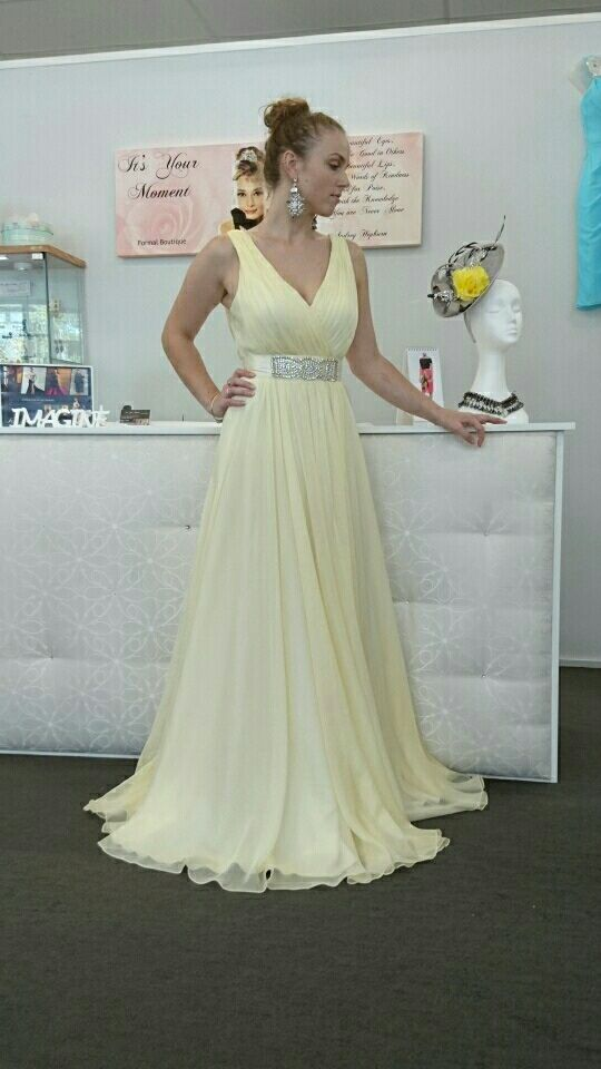 Jadore Full length Chiffon Gown with Ruched V Neck Bodice and Full A line Skirt Colour Lemon Size 8-10