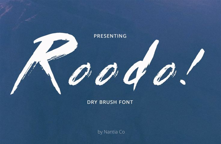 Roodo Dry Brush Font The Roodo Dry Brush Font is a handmade dry brush font. It is a decorative font, with which you can achieve a rough handwritten-type lettering feeling. This font's raw energy can instantly transform any graphic design project in to a bold statement. It is ideal for Instagram quotes, blogs and any kind of marketing material.