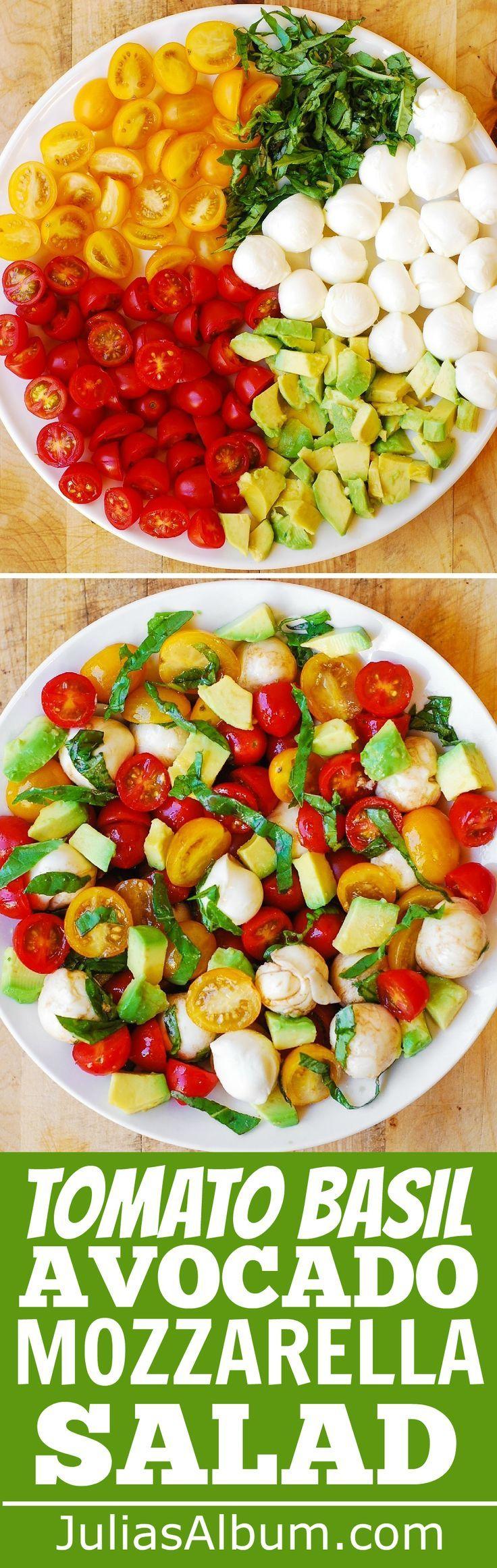 Tomates rouges et jaunes, basilic, avocat, Mozzarella