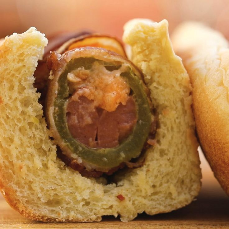 Bacon-wrapped Jalapeño Popper Dogs by Tasty
