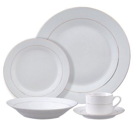 Tuxedo Deluxe 12 Pc Dinnerware Set Double Gold Banded