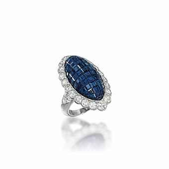 A 'MYSTERY-SET' SAPPHIRE AND DIAMOND RING, BY VAN CLEEF & ARPELS. Sold US$28,725 at Christie's London, June 2013.