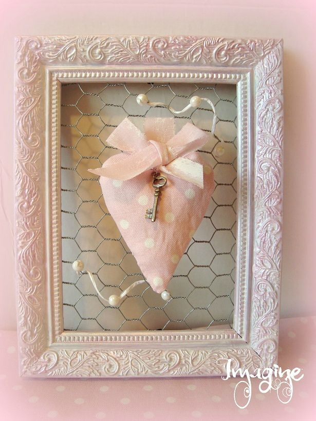 cadre coeur rose / cl� shabby