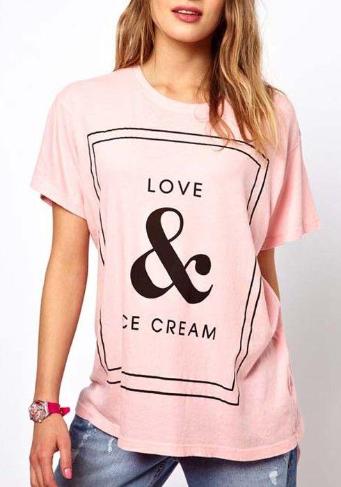 Pink Letter Print Collarless Short Sleeve Cotton T-Shirt  Yep!!!