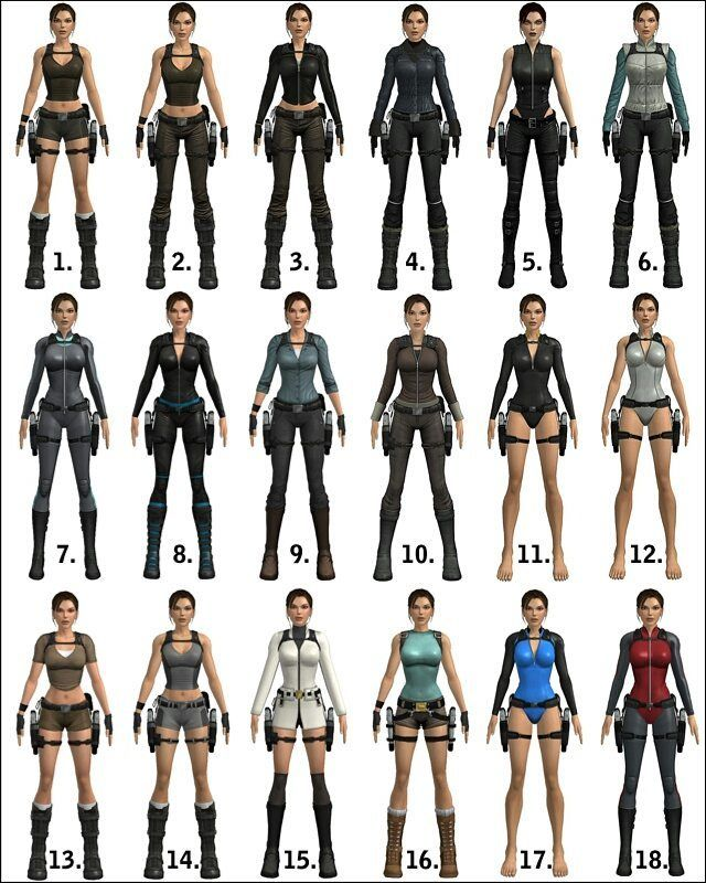 Ok, guys, question number three: your fav costume from Tomb Raider Underworld? (I decided not consider four bikini outfits due to predictable answers). So!  1. Standard shorts 2. Standard pants 3. Biker 4. Snow heavy outfit 5. Doppelganger  6. Snow light outfit 7. Drysuit 8. PVC bodysuit  9. Casual explorer 10. Casual 11. Wetsuit 12. Gray wetsuit 13. Legend 14. Standard gray 15. White coat 16. Classic 17. Blue wetsuit 18. Red drysuit