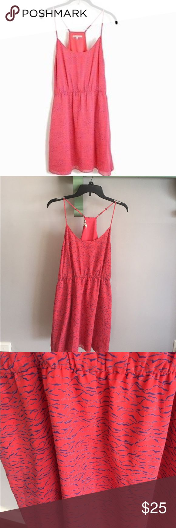 """Madewell """"silk fire crackle cami"""" dress Beautiful Broadway and Broome coral pink dress with blue waves. Elastic waist and adjustable straps. Very light for summer. 100% silk fully lined. Excellent condition the only thing to note is the tag is slightly damaged as seen in second picture- but has absolutely no effect on dress. Bust: 18"""". Waist: 14.5"""". Length: 24"""" from under the arm. Has pockets! Madewell Dresses"""