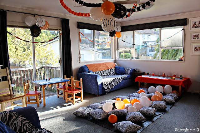 Zebra Party - party floor area for musical cushions and eating