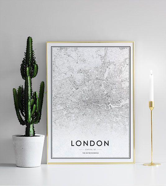 Zwart-witte Londen kaart.