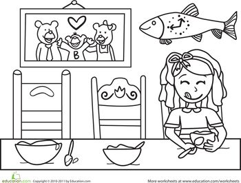 Color the Goldilocks Scene Worksheets