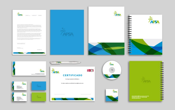 Diseño de Logotipo y Papeleria para la empresa APSA Capacitaciones. Desarrollado por B-Free Studio.