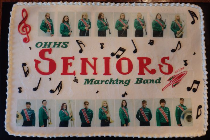 Celebration cake for the Seniors of OHHS Marching Band with edible images.