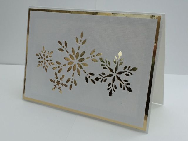 Gold Winter Card by @scrappegarasjen using @bazzillbasicspaper White and Gold cardstock