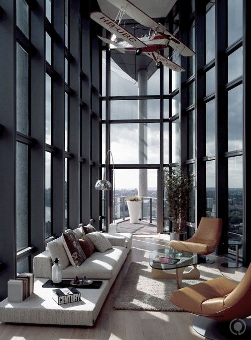 Walls of windows...I would love this in a city apartment