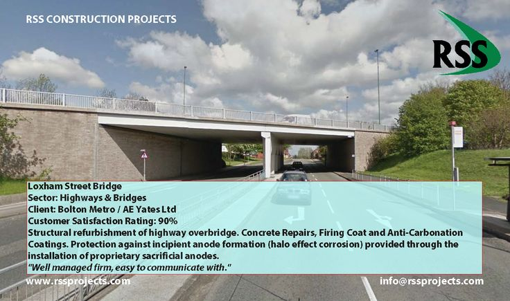 Structural refurbishment of highway overbridge. Concrete Repairs, Firing Coat and Anti-Carbonation Coatings. Protection against incipient anode formation (halo effect corrosion) provided through the installation of proprietary sacrificial anodes. http://www.rssprojects.com/Case Studies/loxham-street-bridge