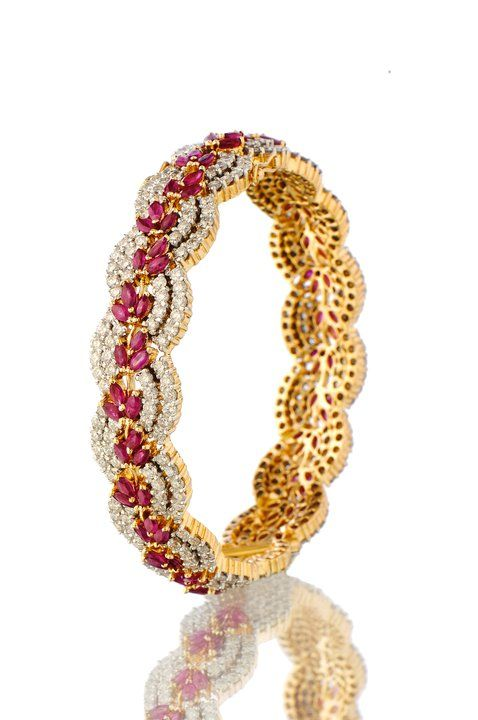 Indian Jewellery and Clothing: Diamond and ruby encrusted kada from Orra diamond jewellery..