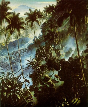 'Iseh im Morgenlicht', painting by Walter Spies, 1938