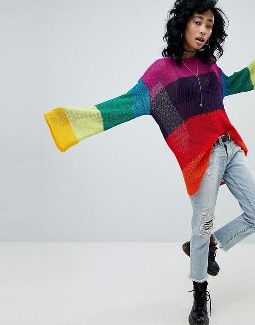 11409cdc66 Rokoko Festival Oversized Open Knit Sweater In Rainbow Stripe ...
