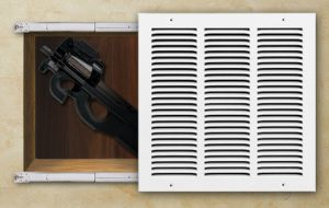 Hidden Gun Compartment Behind Sliding Wall Grate.  Could also put grate on a piano hinge for easy opening.  Good way to hide a weapon in a convenient, but overlooked location.  Place them throughout the home.