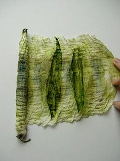 Using the beautiful new green leaves from the river bank and binding them inside silk Habotai, I crushed the bundle to release the wonderful vivid green stain. I am really pleased with the resulting fabric, which seems to capture the verdant shimmer of the woodland floor.
