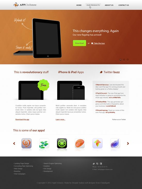 Top Red Business Template PSD Design