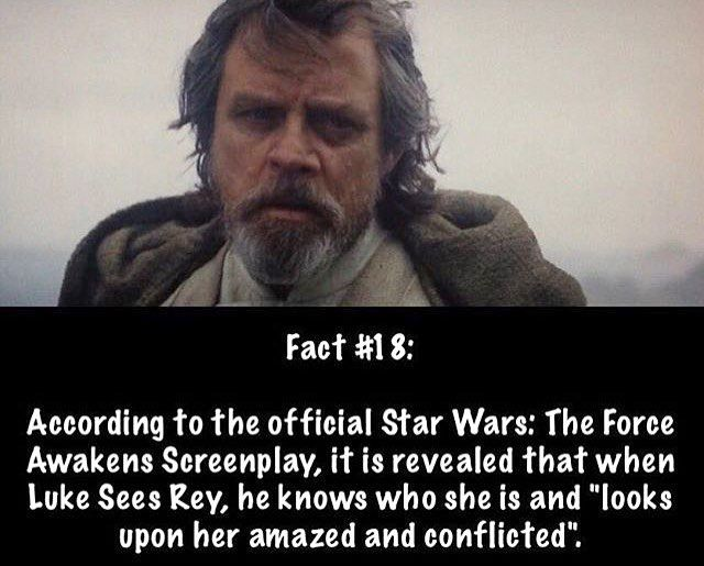 """Also in the TFA novelization when Rey uses the force and catches the Skywalker lightsaber, Kylo mutters under his breath """"It's you."""" So I guess that means Luke and Kylo both know who Rey truly is. And before anyone ask me, yes, the TFA novel is canon. It's pretty much the extended version of the movie that we'll never get to have on blu ray and dvd. #starwars #theforceawakens (Photo credit: @star_wars_greats)"""