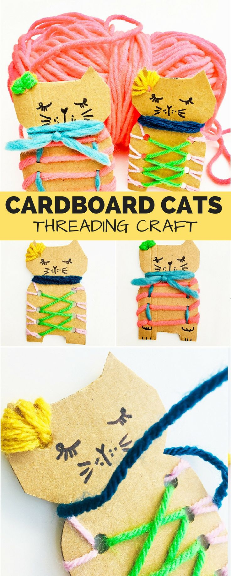 Cardboard Cat Threading Craft. Cute recycled craft for kids and great for practicing fine motor skills. #kidcrafts #kidsart #recycledcraft