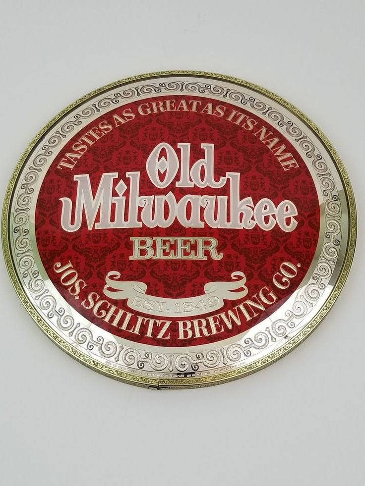 Vintage Old Milwaukee Beer Sign Schlitz Brewery 1971  Red White Gold Round #OldMilwaukee
