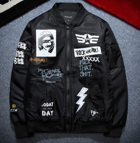 Plus Size Bomber Jacket Baseball Coat Embroidered Patches