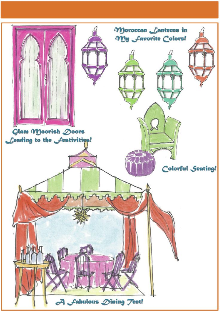 "Moroccan Party! Use ""Beach"" Cabana Awning, and plastic chairs.. ""Pizzaz"" comes from the Details"