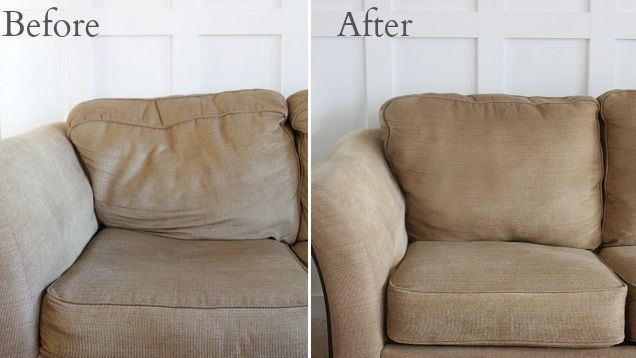 Over time, couch cushions can start to get a little droopy and sad. You can perk them back up again by adding some extra fluff to the inside of each cushion.